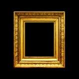 Marco de la foto del oro viejo aislado en negro Foto de archivo libre de regalías