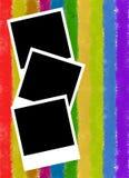 Marco de la foto en fondo colorido de las rayas Fotos de archivo