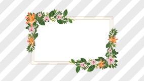 Marco de la foto para el espacio de la copia con rosa decorativo y las flores anaranjadas ilustración del vector
