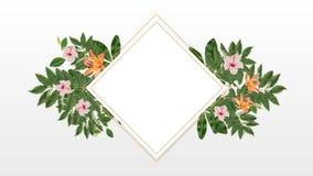 Marco de la foto para el espacio de la copia con rosa decorativo y las flores anaranjadas stock de ilustración