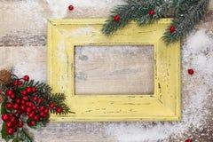 Marco de la foto y decoración en blanco de la Navidad Fotografía de archivo