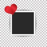 Marco de la foto y un corazón con la sombra en fondo transparente Vector Foto de archivo