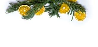 Marco de la frontera de la Navidad de la rama de árbol de abeto en el fondo blanco aislado Imagen de archivo
