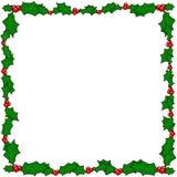 Marco de la frontera del acebo de la Navidad Fotos de archivo libres de regalías