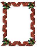 Marco de la frontera del acebo de las cintas de la Navidad Imagen de archivo
