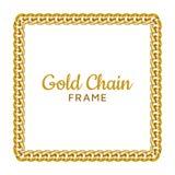 Marco de la frontera del cuadrado de la cadena de oro Forma de la guirnalda del rectángulo Diseño de la joyería del oro stock de ilustración