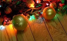 Marco de la frontera del top del ` s del Año Nuevo Fondo de madera de la Navidad Imagen de archivo libre de regalías