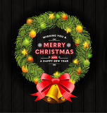 Marco de la guirnalda de la Navidad y diseño de la tipografía Fotografía de archivo libre de regalías