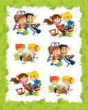 Marco de la historieta con los niños que juegan en diversas situaciones stock de ilustración