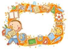 Marco de la historieta con los objetos de la escuela stock de ilustración