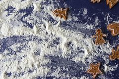 marco de la hornada de la galleta de la Navidad del pan de jengibre Imagenes de archivo