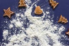 marco de la hornada de la galleta de la Navidad del pan de jengibre Imagen de archivo
