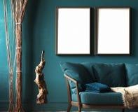 Marco de la maqueta en interior casero verde oscuro con el sofá, la piel, las cortinas de la cuerda y la escultura de la rama stock de ilustración