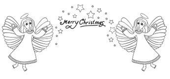 Marco de la Navidad con angals ilustración del vector
