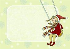 Marco de la Navidad con el duende de la muchacha Foto de archivo libre de regalías