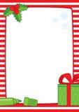 Marco de la Navidad con el marcador y el regalo, rayas A3 Fotografía de archivo libre de regalías