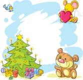 Marco de la Navidad con el oso de peluche, el ratón lindo y el pájaro Imagen de archivo libre de regalías