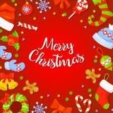 Marco de la Navidad con Holly Decoration Fotos de archivo libres de regalías