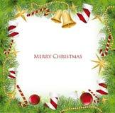 Marco de la Navidad con Holly Decoration. Vector Fotografía de archivo