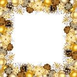 Marco de la Navidad con las bolas del oro y de la plata Ilustración del vector Imagen de archivo