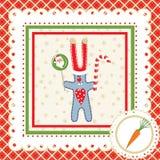 Marco de la Navidad con las liebres Fotografía de archivo libre de regalías