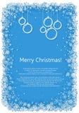 Marco de la Navidad con los copos de nieve Fotografía de archivo
