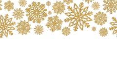 Marco de la Navidad con los copos de nieve del oro Frontera del confeti de la lentejuela Imagen de archivo libre de regalías