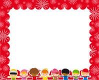 Marco de la Navidad con los niños Imagen de archivo libre de regalías