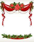 Marco de la Navidad con pointsettia Fotografía de archivo libre de regalías