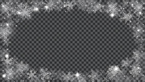 Marco de la Navidad de copos de nieve translúcidos en la forma de ellips Fotografía de archivo libre de regalías