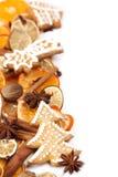 Marco de la Navidad de la galleta y de la especia del pan de jengibre Foto de archivo libre de regalías