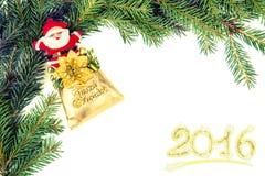 Marco de la Navidad del branchwith santa del abeto Foto de archivo