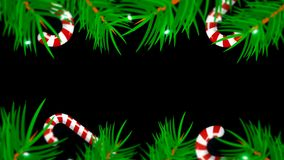 Marco de la Navidad en fondo negro Contexto abstracto con los árboles, los candys y las luces del brunch fotografía de archivo libre de regalías