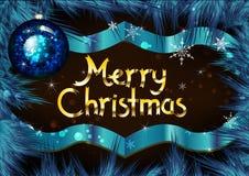 Marco de la Navidad en ramas del pino Tarjeta de felicitación para la Navidad Imagenes de archivo