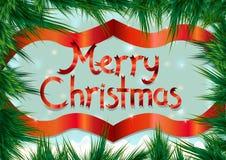 Marco de la Navidad en ramas del pino Tarjeta de felicitación para la Navidad Imagen de archivo libre de regalías