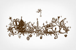 Marco de la Navidad, gráfico de bosquejo para su diseño Fotos de archivo