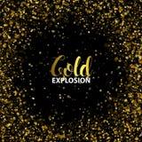 Marco de la Navidad hecho de brillo del oro de las estrellas de la hoja de oro del recorte con el espacio libre para sus deseos d Fotografía de archivo