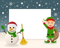 Marco de la Navidad - muñeco de nieve y duende verde stock de ilustración