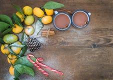 Marco de la Navidad o del Año Nuevo Mandarines frescos con Fotos de archivo