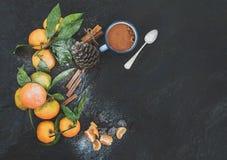Marco de la Navidad o del Año Nuevo Mandarines frescos con Fotos de archivo libres de regalías