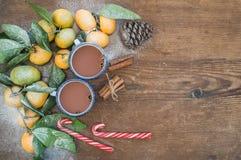 Marco de la Navidad o del Año Nuevo Mandarines frescos con Imagen de archivo libre de regalías