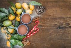 Marco de la Navidad o del Año Nuevo Mandarines frescos con Fotografía de archivo libre de regalías