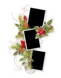 Marco de la Navidad para tres fotos Fotografía de archivo libre de regalías