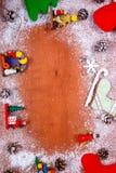 Marco de la Navidad y del Año Nuevo para el fondo de madera de la tarjeta de felicitación con el espacio de la copia Visión super Imágenes de archivo libres de regalías
