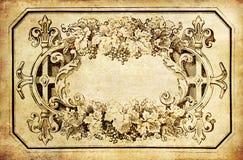 Marco de la planta de la vendimia en el papel viejo Imagen de archivo libre de regalías