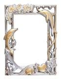 Marco de la plata y del oro de la flor Foto de archivo