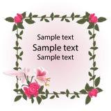 Marco de la postal del vintage Las rosas rojas y la flor del lirio son blanco rosado Imagen de archivo