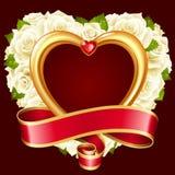 Marco de la rosa del blanco del vector en la forma del corazón libre illustration