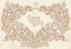 Marco de la tarjeta del día de San Valentín de la vendimia Foto de archivo