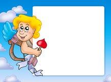 Marco de la tarjeta del día de San Valentín con el Cupid 3 Foto de archivo libre de regalías